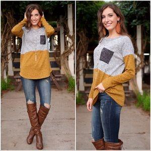 Long Sleeve Colorblock Tunic-mustard/gray